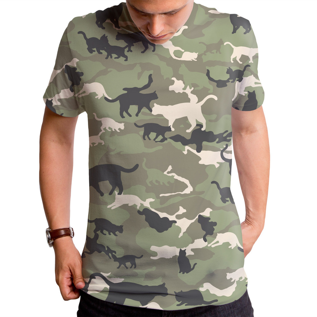 Cat Camouflage Men s T Shirt – Cat Camouflage T Shirt Funny Cat