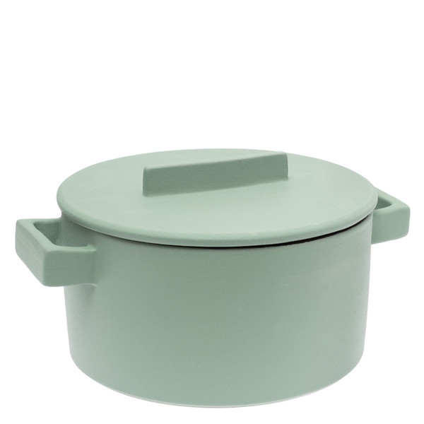 Terra Cotto  Cylindrical saucepot, 2 handles with lid, Sage