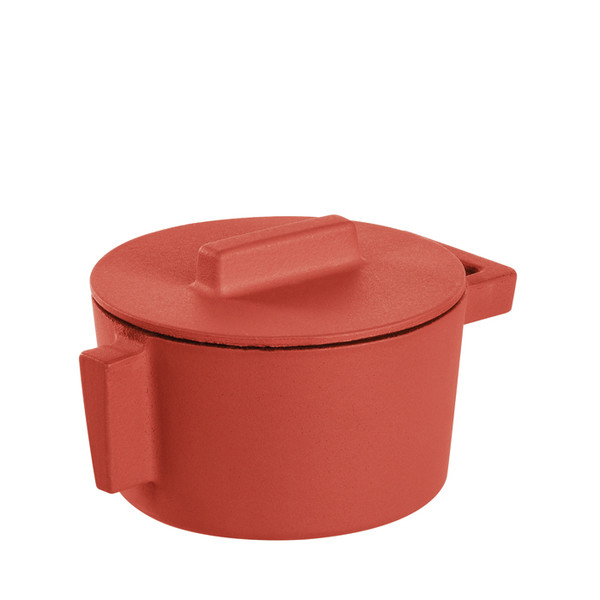 Terra Cotto Cast Iron  Saucepot with Lid, Paprika, 4 inch, 10 ounce