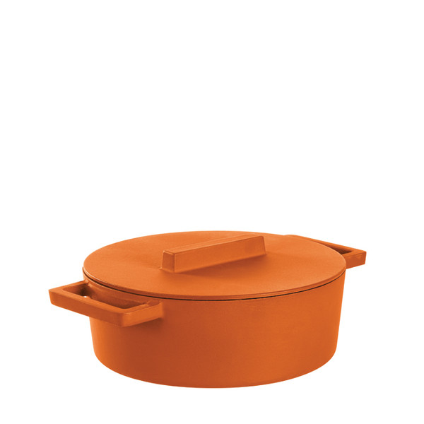 Terra Cotto Cast Iron  Oval Casserole Pot with Lid, Curry, 11 3/4 x 10 inch, 416 ounce