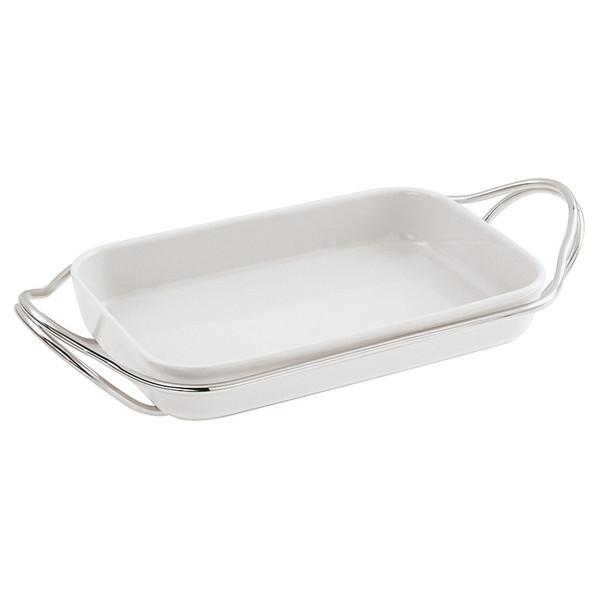 New Living Mirror / Porcelain Rectangular porcelain dish set, 13 3/4 x 8 1/2 x 2 1/2 inch