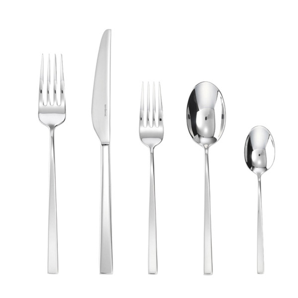 Linea Q 18/10 Stainless Steel 5 Pcs Place Setting (solid handle knife)