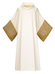 Dalmatic in Brugia fabric with gold Band in wool threads
