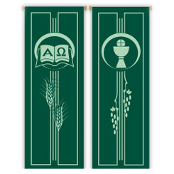 Inside Banner with Alpha-Omega or Chalice and Host Design