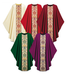 Gothic Chasuble in Dupion fabric with Regina orphrey with plain neckline