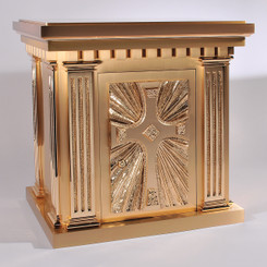 Bronze Tabernacle with Cross and Rays Relief