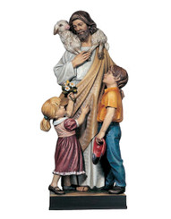 Good Shepherd with Children Statue
