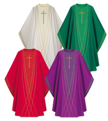 Gothic Chasuble in Dupion Fabric with Gold Cross & Lines