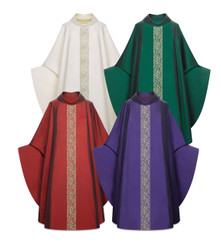 Gothic Chasuble in Sentia Fabric with Woven Band