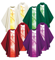 Gothic Chasuble in Pius Fabric with Ptinted Band