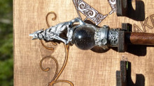 Handmade Wood And Pewter Wands By Alexander The Sorcerers Apprentice Of Laguna Beach, Ca. Exotic Woods And Designs Just For Magic Folk. Walnut/Elder/Ash/Mahogany/Cherry/Oak/Pecan/Willow/Ebony/Zebra Wood/Maple With Custom Ends And Crystals Comes With Custom Stand, Flick And Swish You Can Order Custom Wands In Any Wood, Color And Ends We Have Wide Selection Of Ends Claws,Balls ,Dragons,Unicorns.Crystal Ends Come In Every Color Turquoise, Malachite, Moonstone,(Etc)  You Name It  I Will Make It , Remember The Wand Picks You. Call Us  @800-875 6366  Or E-Mail Me Drneon@Drneon.Tv And I Will Help You Realize Your Dreams