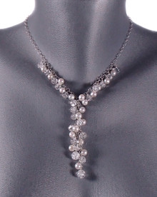Rock Crystal Quartz and Freshwater Pearl Belle of the Ball Necklace