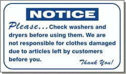 """Vend-Rite #L321:  """"Please check washers and dryers before using them"""""""