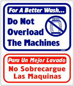 """Vend-Rite #L805:  """"For a Better Wash Do Not Overload The Machines"""""""
