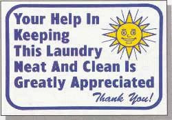 """Vend-Rite #L622:  """"Your Help in Keeping This Laundry Neat and Clean is Greatly Appreciated"""""""