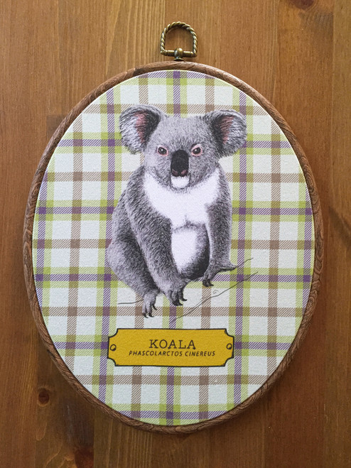 Koala Fabric Oval Art Print