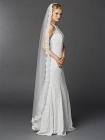 Floor Or Chapel Length Wedding Mantilla Veil With Lace 3325V W