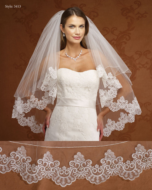 Marionat Bridal Veils 3413- Two Tier Lace Edge with Rolled Edge Blusher-The Bridal Veil Company