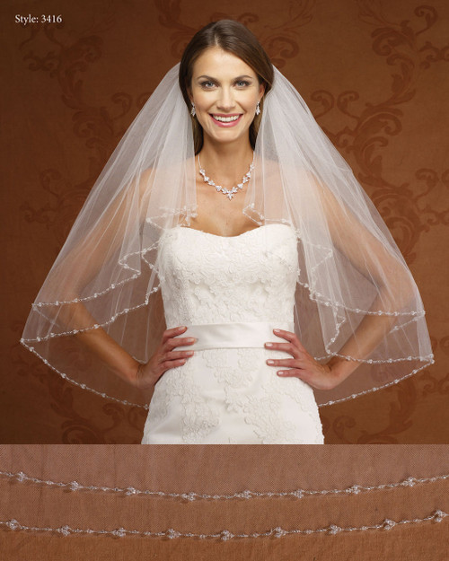 Marionat Bridal Veils 3416- Two Tier Beaded Edge-The Bridal Veil Company