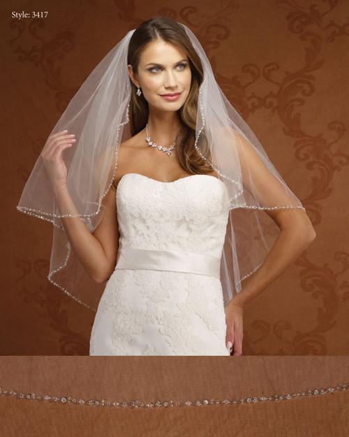 Marionat Bridal Veils 3417- Beaded Edge-The Bridal Veil Company