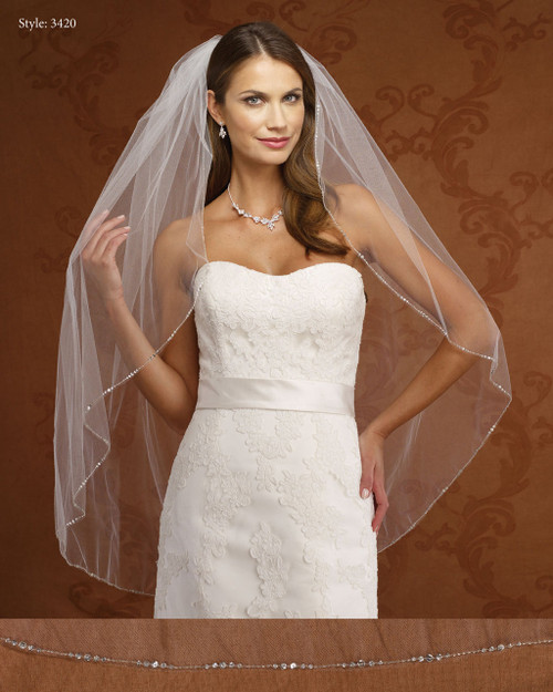 Marionat Bridal Veils 3420-Small Beaded Edge-The Bridal Veil Company