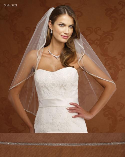 Marionat Bridal Veils 3421-Rhinestone Edge-The Bridal Veil Company