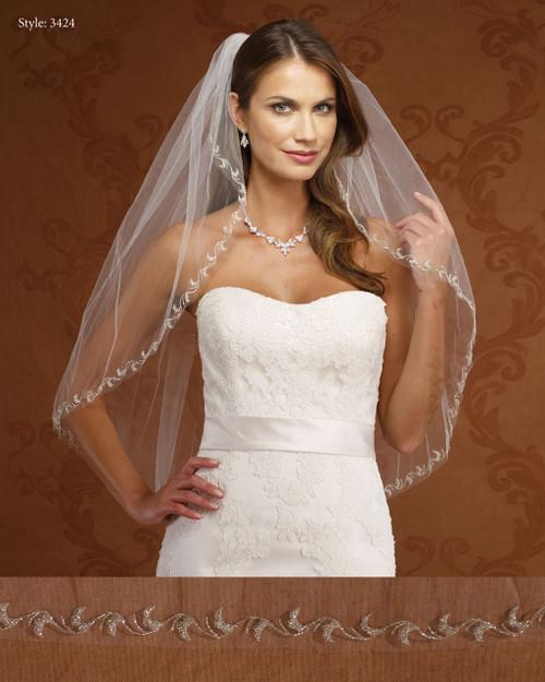 Marionat Bridal Veils 3424-Embroidered Design-The Bridal Veil Company