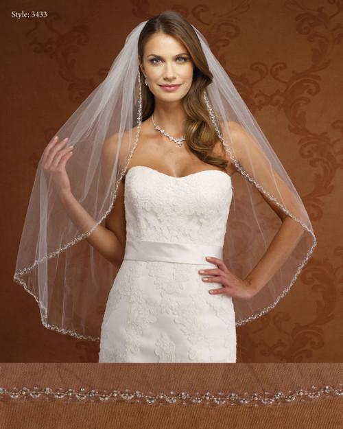 Marionat Bridal Veils 3433-Beaded Pearl Edge-The Bridal Veil Company