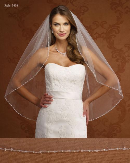 Marionat Bridal Veils 3434 - Beaded, Pearl and Crystal Edge-The Bridal Veil Company
