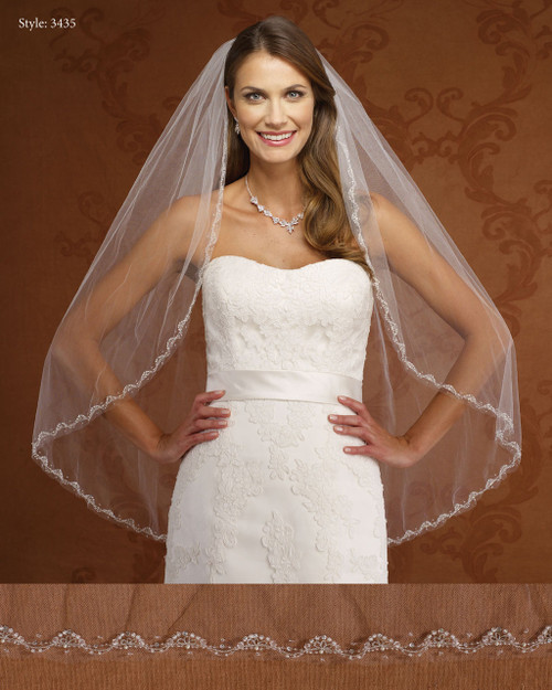 Marionat Bridal Veils 3435- Beaded Edge-The Bridal Veil Company