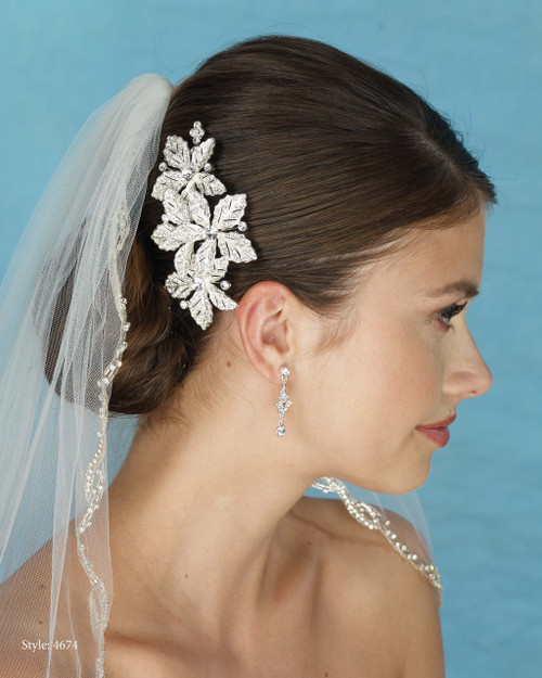 Marionat Bridal 4674 Rhinestone Flower Comb - Le Crystal Collection