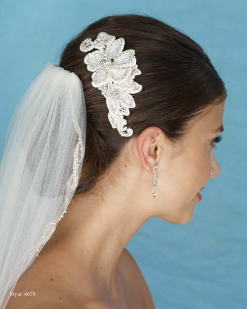 Marionat Bridal 4676 Lace Flower Comb with Rhinestones - Le Crystal Collection