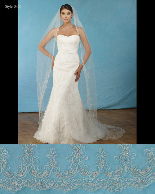 """Marionat Bridal Veils 3460- Silver embroidered scallop 108"""" Inches Long -The Bridal Veil Company"""