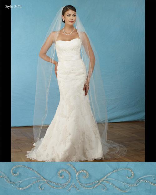 """Marionat Bridal Veils 3474- Silver embroidered beaded veil 108"""" Inches Long -The Bridal Veil Company"""