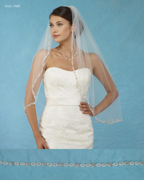 Marionat Bridal Veils 3468 - Beaded Edge with Rhinestones - The Bridal Veil Company