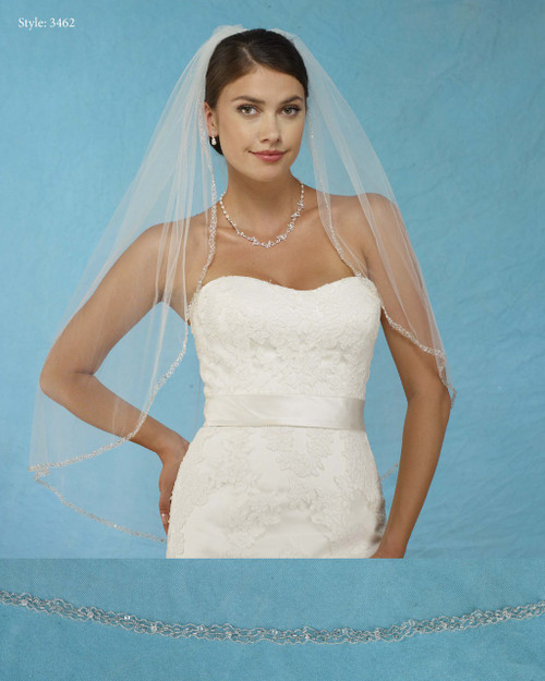 Marionat Bridal Veils 3462 - Embroidered Beaded Edge - The Bridal Veil Company