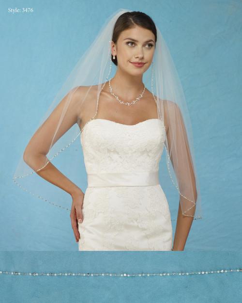 Marionat Bridal Veils 3476 - Pearl Beaded Edge - The Bridal Veil Company