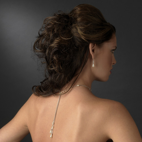 Elegant Silver/Clear Ivory Lariat Back Drop Necklace & Earring Set
