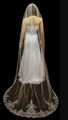 Silver Embroidered Floral Cathedral Veil VL3030 - Bugles, Rhinestones, Sequins,Pearls