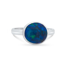 Black opal white gold ring- Lost Sea Opals