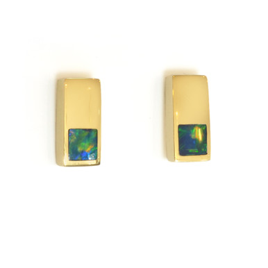 Lost Sea Opals - 9kt Gold Rectangular Earrings with Opal Inlay