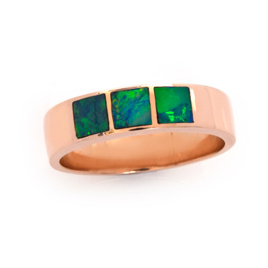 Lost Sea Opals- 9ct gold opal inlaid ring