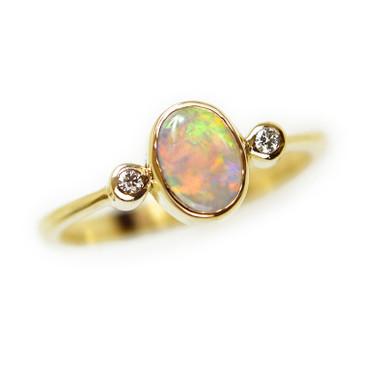 Lost Sea Opals 9k gold light opal ring
