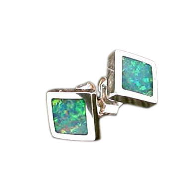 Lost Sea Opals - inlay opal silver earrings