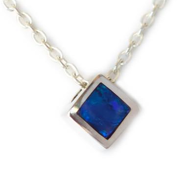 Lost Sea Opals- Silver opal inlay pendant- square