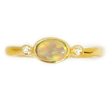 Lost Sea Opals crystal opal in 9k yellow gold ring
