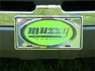 Muzzy License Plate Green Logo