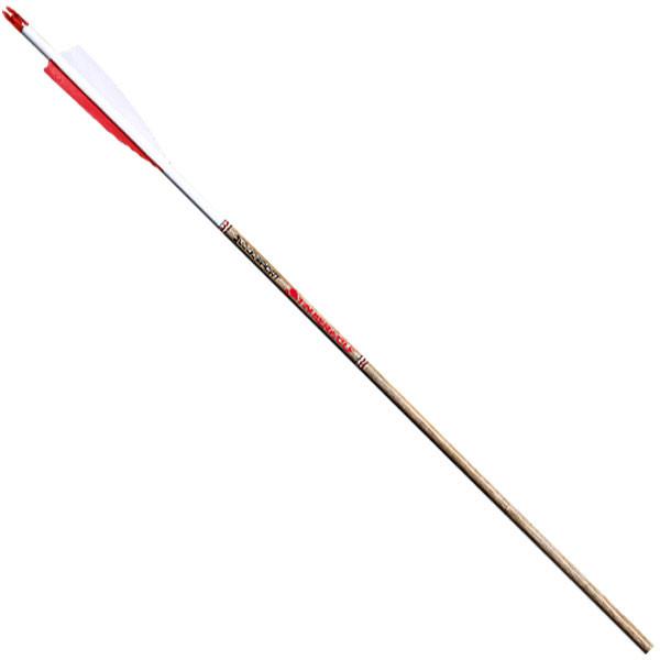 BloodSport Timberwolf Wooden Laminent - 350 0.003 6PK Arrows w/ 2in. Fletchings