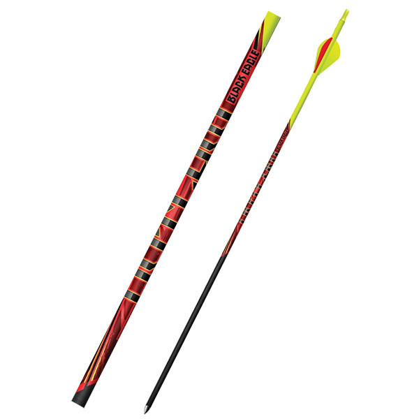 """Black Eagle Outlaw Fletched Crested Arrows - .005"""" 6 Pack - 350 - Flourescent Yellow Crested"""