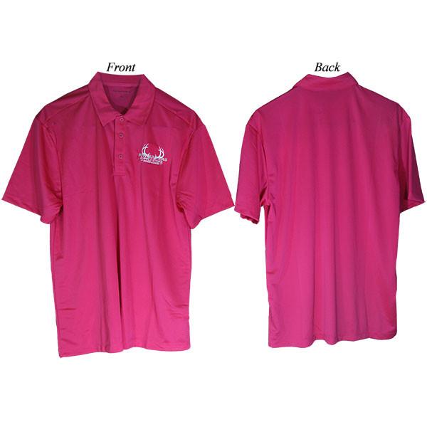 Bowhunters Supply Store Polo Pink Raspberry/White Medium